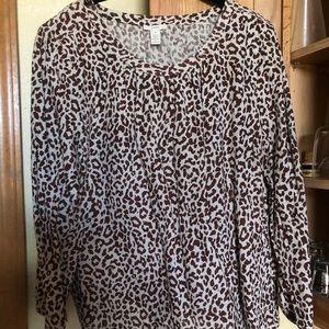 J. Crew Women's Cheetah Print Blouse Size 14